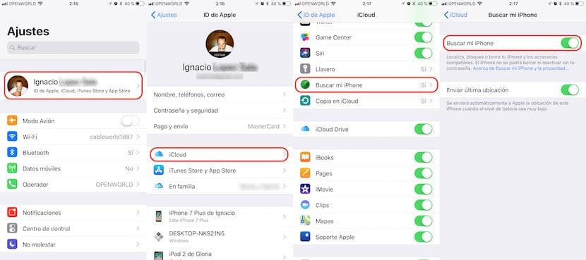 Desactivar Buscar mi iPhone desde el iPhone