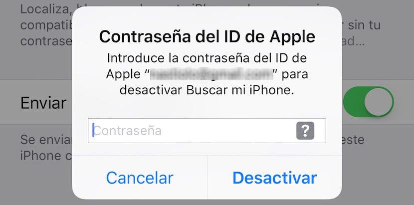 Desactivar Buscar mi iPhone sin contraseña
