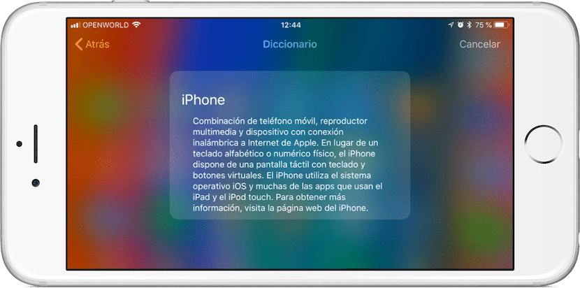 Cómo buscar la definición o traducción de una palabra en iOS 11