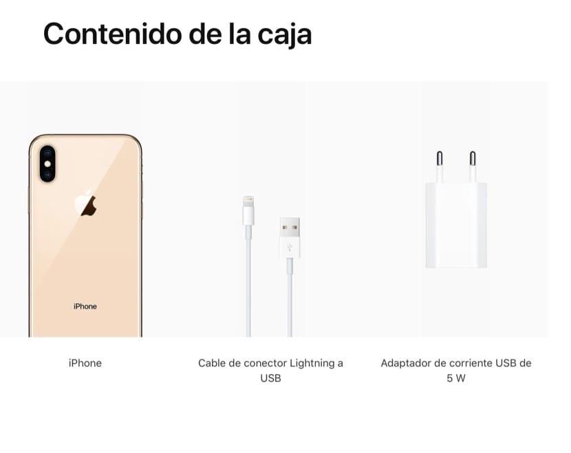 Contenido caja iPhone XS