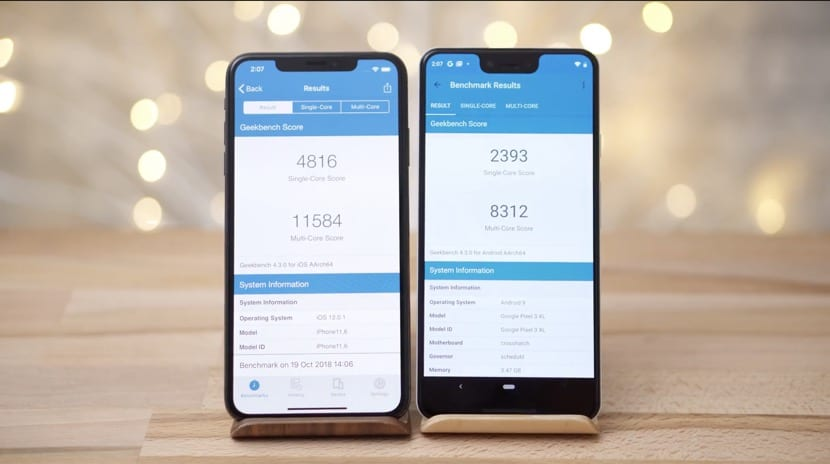 Geekbench Pixel tres iPhone XS