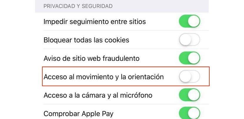 Acceso al movimiento y orientación iOS 12.2