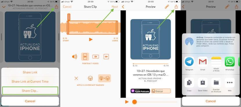 Overcast - Compartir clips de audio o vídeo Podcast