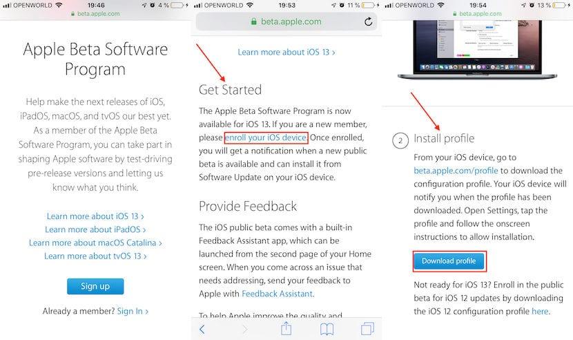 Como instalar la beta pública de iOS 13