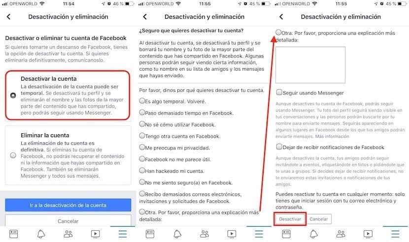 Cómo desactivar la cuenta de Facebook