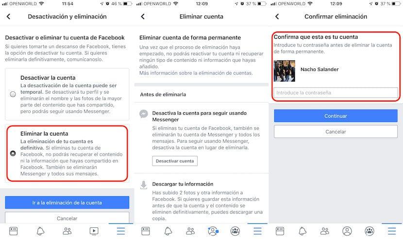 Cómo Eliminar la cuenta de Facebook