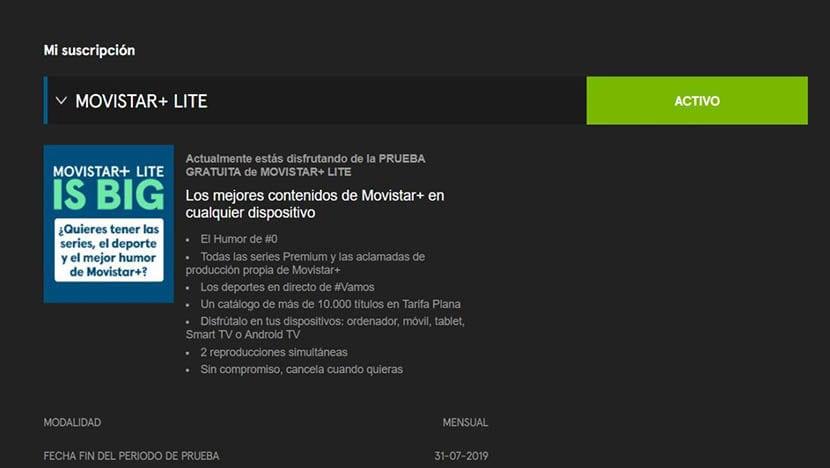 Captura de Movistar+ Lite
