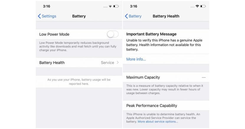 IOS te advierte que la bateria no es oficial