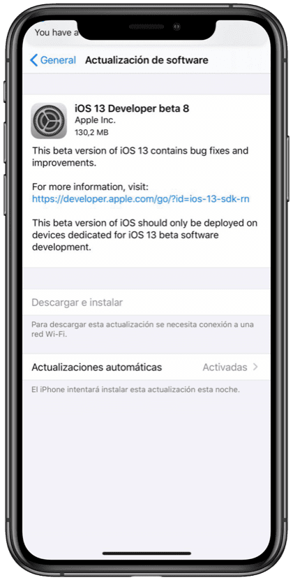 Beta 8 iOS 13