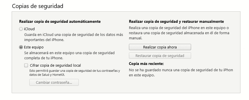 Copia de seguridad en iTunes