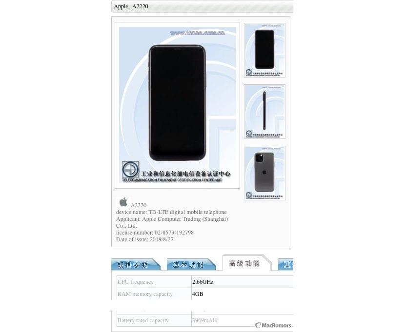 Memoria RAM del iPhone 11