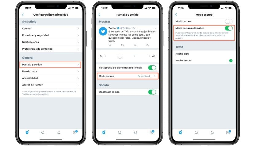 Modo oscuro automático en <strong>Twitter℗</strong> con iOS℗ 13″ width=»830″ height=»476″ srcset=»https://www.actualidadiphone.com/wp-content/uploads/2019/09/modo-oscuro-twitter-ios-1.jpg 830w, https://www.actualidadiphone.com/wp-content/uploads/2019/09/modo-oscuro-twitter-ios-1-300×172.jpg 300w, https://www.actualidadiphone.com/wp-content/uploads/2019/09/modo-oscuro-twitter-ios-1-314×180.jpg 314w, https://www.actualidadiphone.com/wp-content/uploads/2019/09/modo-oscuro-twitter-ios-1-400×229.jpg 400w, https://www.actualidadiphone.com/wp-content/uploads/2019/09/modo-oscuro-twitter-ios-1-500×287.jpg 500w, https://www.actualidadiphone.com/wp-content/uploads/2019/09/modo-oscuro-twitter-ios-1-170×96.jpg 170w» sizes=»(max-width: 830px) 100vw, 830px»></p> <p><aside id=