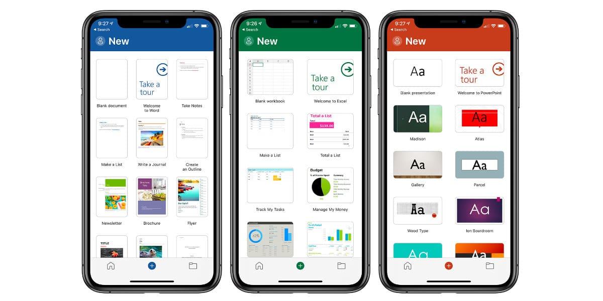 Rediseñadas las apps de Word, Excel y PowerPoint para iOS y iPadOS