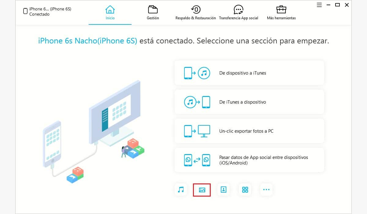 Pasar fotos del iPhone al ordenador iCareFone