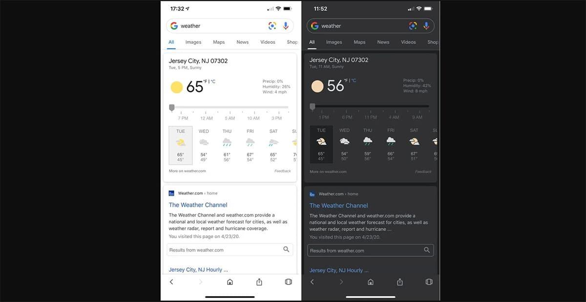 Modo oscuro aplicación Google