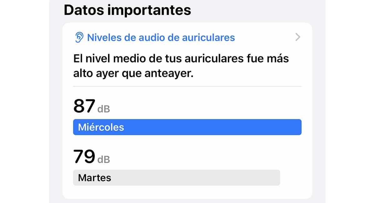 nivel de dB en iOS 13