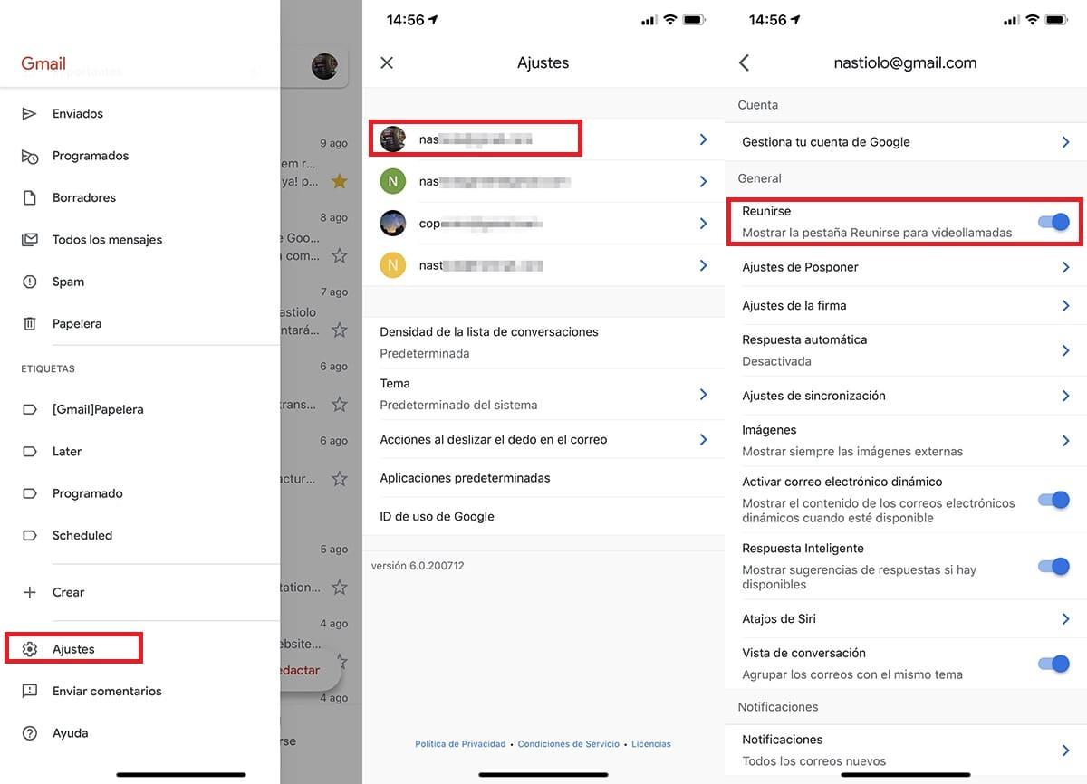 eliminar la opción Reunirse de Gmail