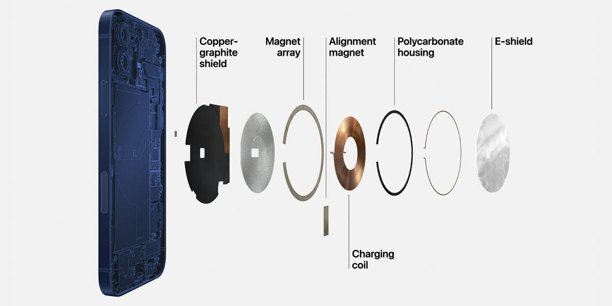 Complejo de sensores en el interior del iPhone 12