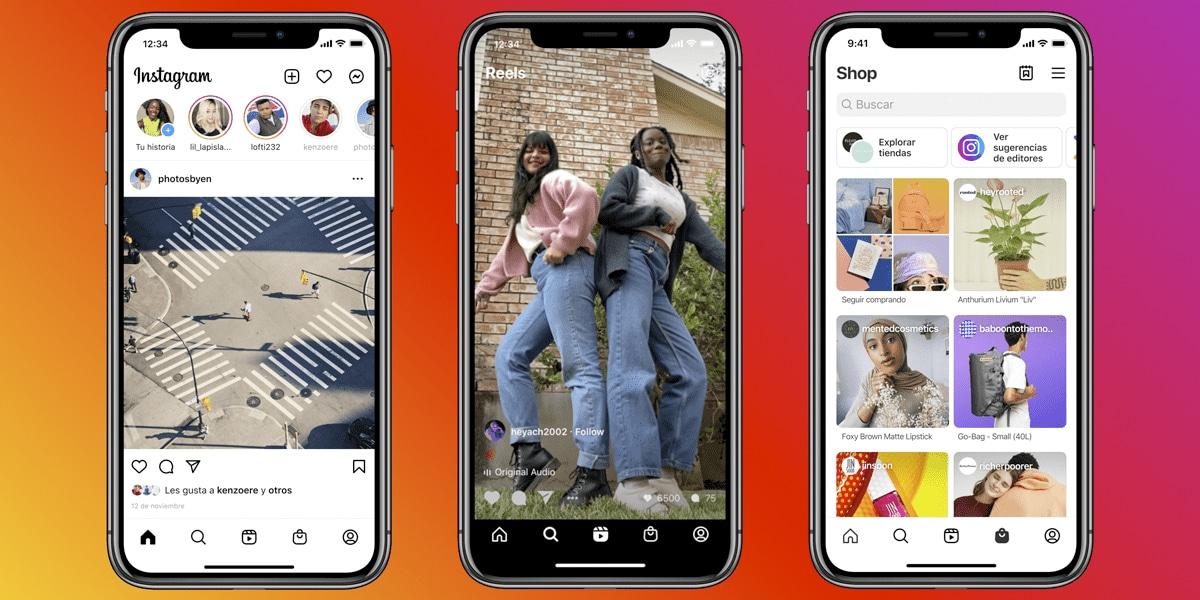 Instagram y su nueva pantalla de inicio con Reels y Shop