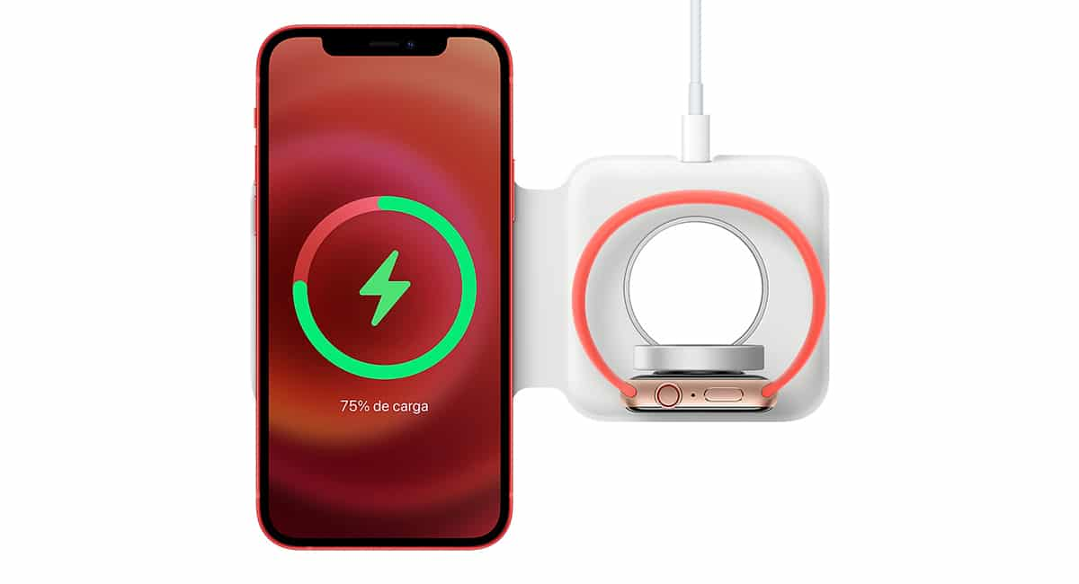 MagSafe Duo con iPhone y Apple Watch
