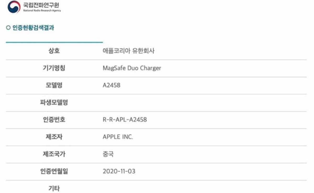 MagSafe Duo certificado Corea