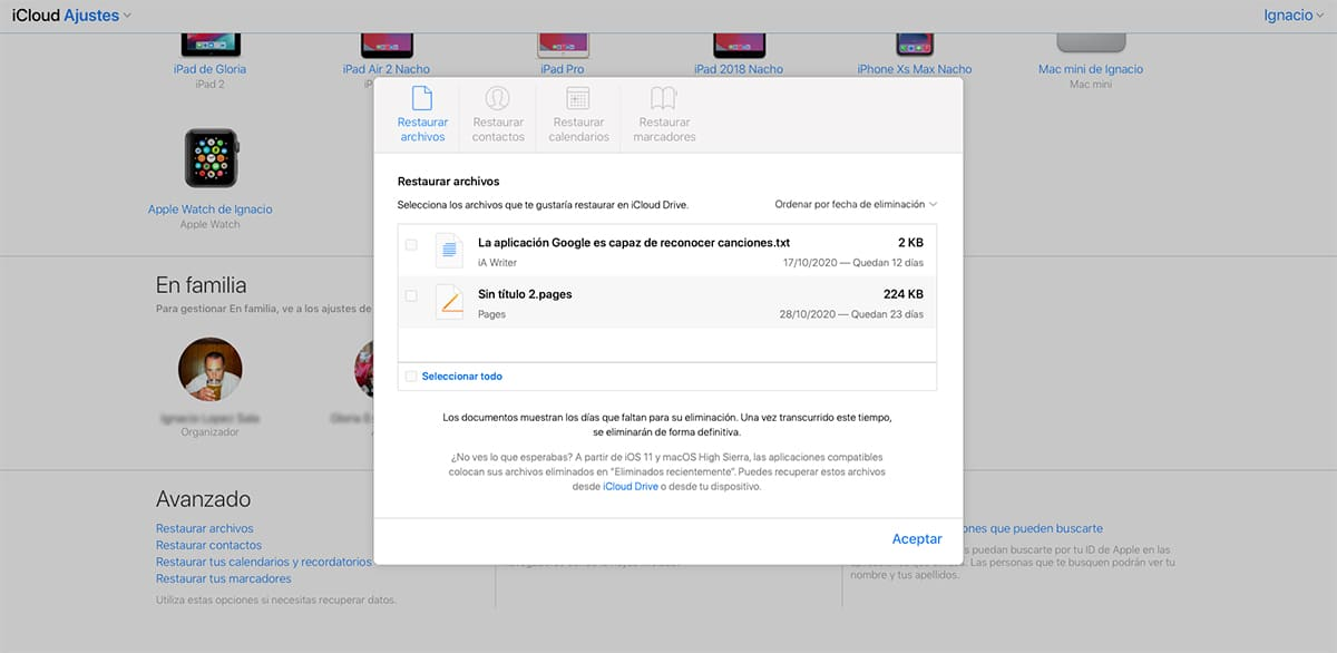 Recuperar archivos borrados desde iCloud