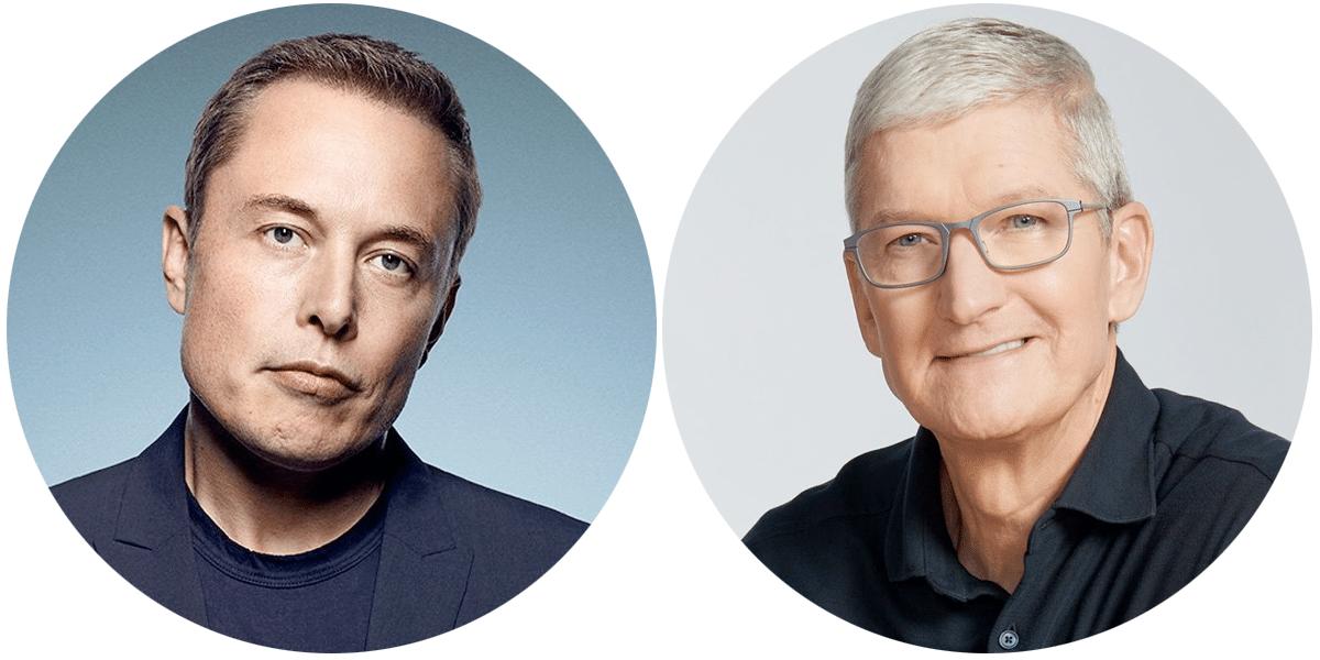 Elon Musk y Tim Cook, un nuevo Apple vs Tesla