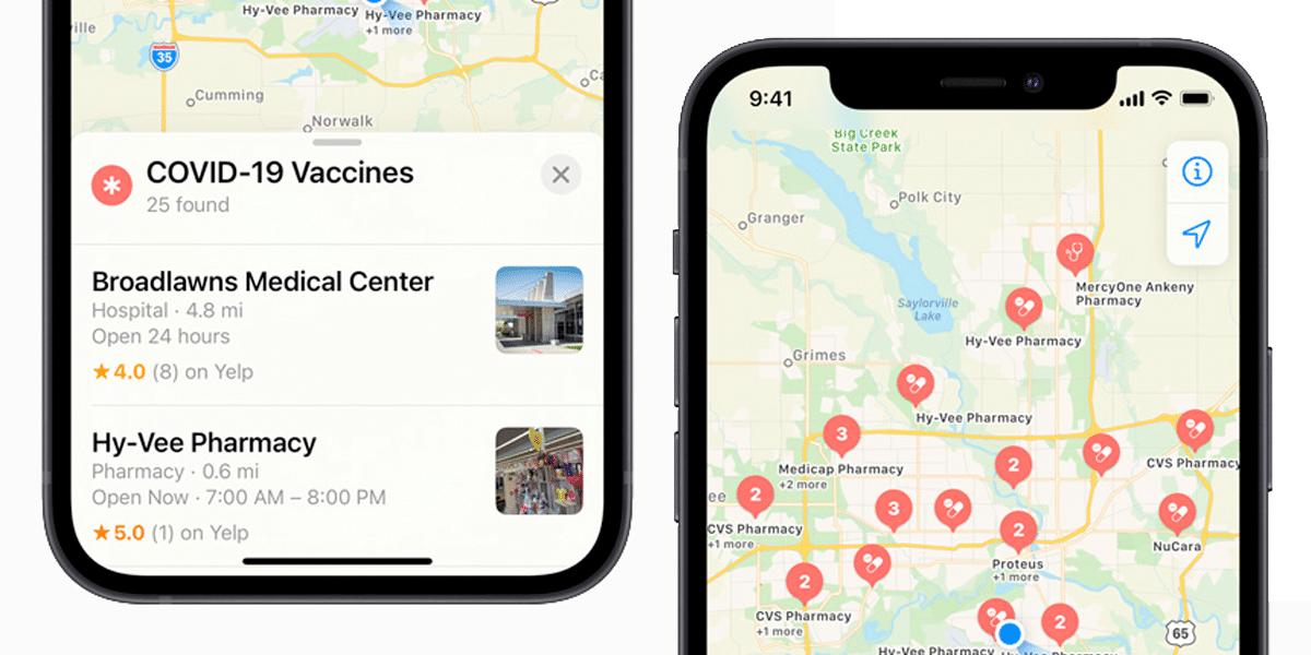 Apple Maps y lugares de vacunación contra la covid-19