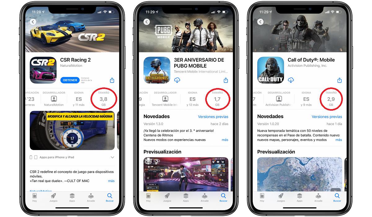 Tamaño juegos App Store