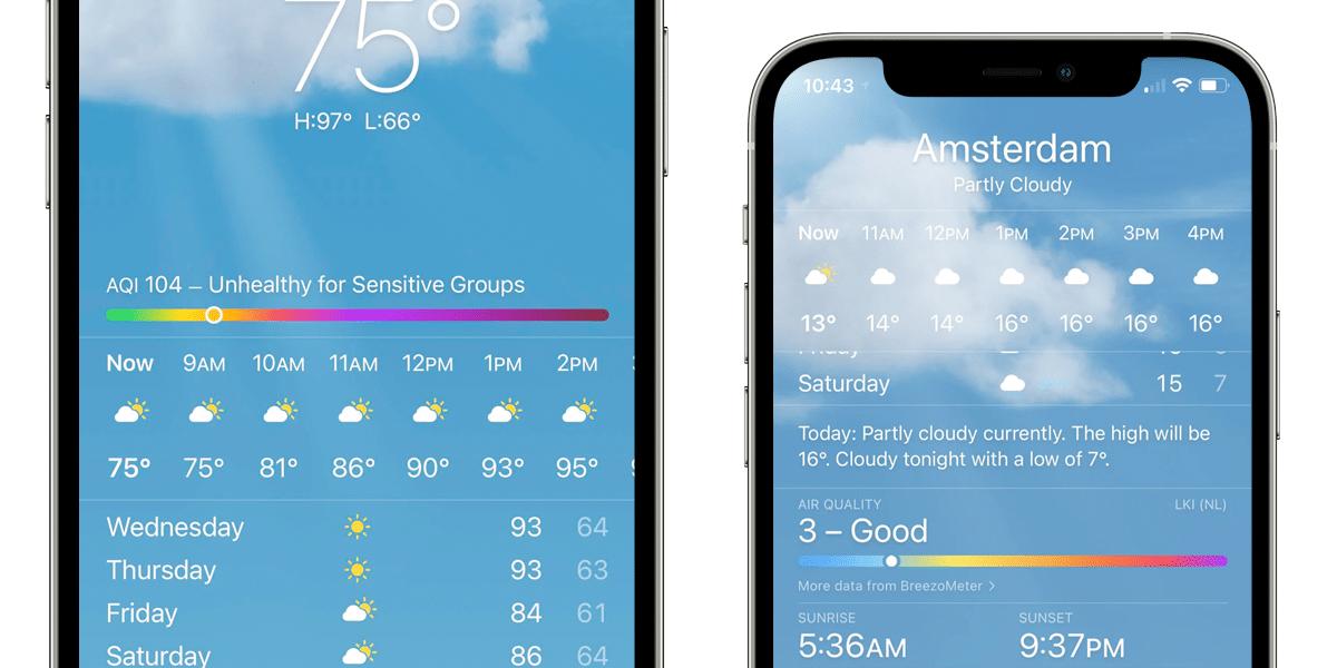 Calidad del aire en iOS 14.7