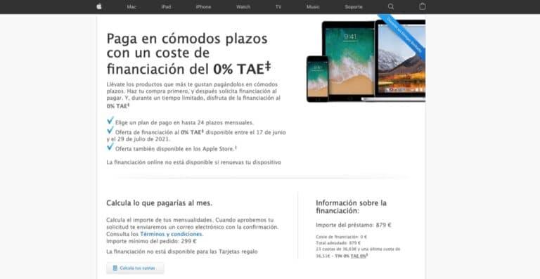 Financiación Apple coste 0