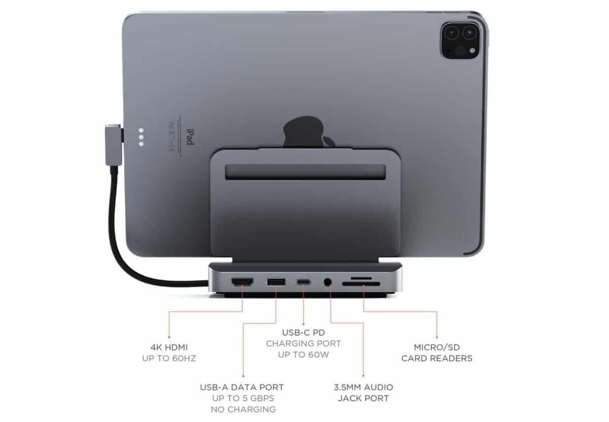 Con el lanzamiento del iPad Pro 2021 con el procesador M1, Apple no ha hecho más que confirmar que este dispositivo tiene un futuro prometedor y que no tiene absolutamente nada que envidiar a un portátil convencional, sobre todo si hablamos de potencia. Gracias a ello, muchos usuarios se plantean su compra como dispositivo todo en uno, tanto para el hogar como para llevarlo siempre encima. Con esta idea en la cabeza, los chicos de Satechi han presentado un soporte de aluminio, con un diseño similar al Mac Mini, soporte que se pliega para poder llevarlo siempre con nosotros y que además, incluye hasta 6 puertos de conexión, lo que nos permite convertir nuestro iPad en equipo de sobremesa en segundos allí donde nos encontremos. <!--more--></noscript> https://youtu.be/U53CGdECbbI Desde Satechi afirman que el nuevo Aluminium Stand and Hub para el iPad Pro y iPad Air, quieren mejorar la experiencia de los usuarios del iPad de Apple, ya sea en casa, en la oficina o en sus desplazamientos. <blockquote>Con seis puertos de conectividad, combina las capacidades de un ordenador de sobremesa con la comodidad de una tableta. El Stand & Hub de aluminio supera los límites de una configuración tradicional y es totalmente plegable y portátil, por lo que es ideal para cualquier configuración del espacio de trabajo, ya sea en casa, en la oficina o en los desplazamientos.</blockquote> El soporte cuneta con un cable USB-C que se conecta a la tablet. En la parte trasera del soporte encontramos un puerto HDMI, lectores de tarjetas SD y microSD, puerto de audio, puerto USB-C PD y un puerto de datos USB-A. <ul> <li>El puerto HDMI soporta 4K a 60Hz.</li> <li>Puerto USB-C PD con una salida de hasta 60W.</li> <li>Puerto de datos USB-A de hasta 5 Gbps.</li> <li>Las ranuras para tarjetas SD y microSD se puede utilizar a forma simultánea.</li> </ul> El Satechi Aluminium Stand and Hub for iPad Pro está disponible en la web de este fabricante por 99 dólares, un precio más que ajustado para la calid