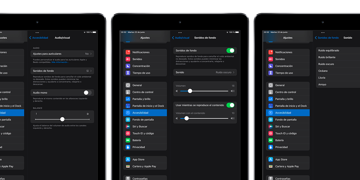 Sonidos de fondo en iOS y iPadOS 15