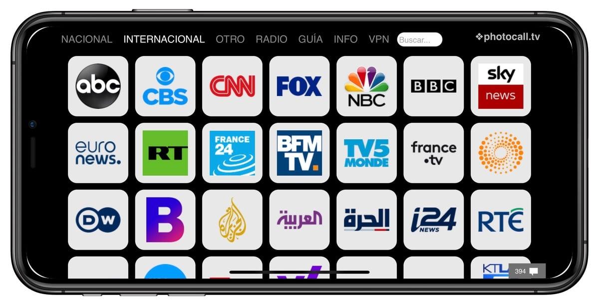 Canales internacionales Photocall TV