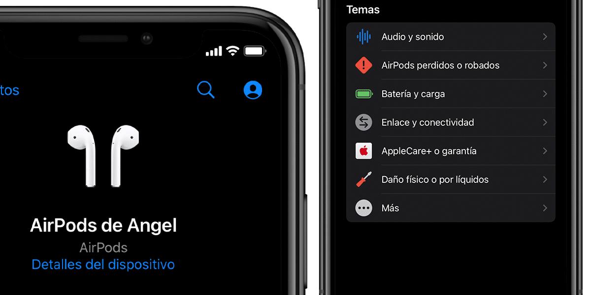 AirPods en la lista de dispositivos de Soporte de Apple