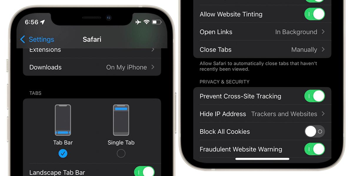 Cambios en Safari en la beta 6 de iOS 15