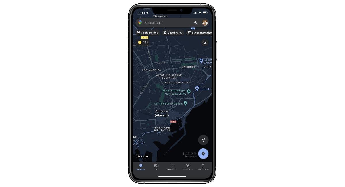Modo oscuro Google Maps