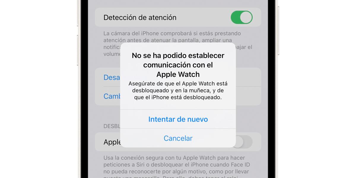 Error al desbloquear con el Apple Watch el iPhone 13